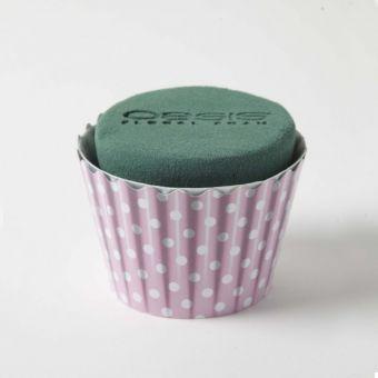 OASIS® Ideal Floral Foam Maxlife Cupcakes - Pink Dot - 8cm (6 Pack)