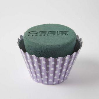 OASIS® Ideal Floral Foam Maxlife Cupcakes - Purple Dot - 12cm (Pack of 6)