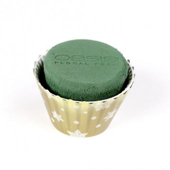 OASIS® Ideal Floral Foam Maxlife Cupcakes - Gold with White Snowflakes - 12cm (Pack of 6)