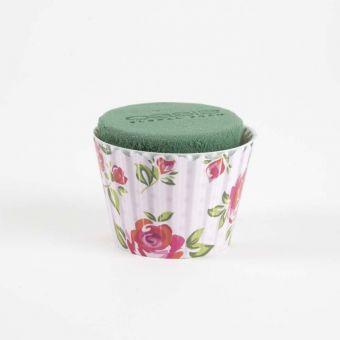OASIS® Ideal Floral Foam Maxlife Cupcakes - Pink Large Rose - 8cm (Pack of 6)