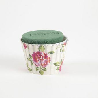 OASIS® Ideal Floral Foam Maxlife Cupcakes - Cream Large Rose - 8cm (Pack of 6)