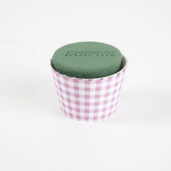 OASIS® Ideal Floral Foam Maxlife Cupcakes - Pink Gingham - 8cm (Pack of 6)