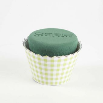 OASIS® Ideal Floral Foam Maxlife Cupcakes - Green Gingham - 12cm (Pack of 6)
