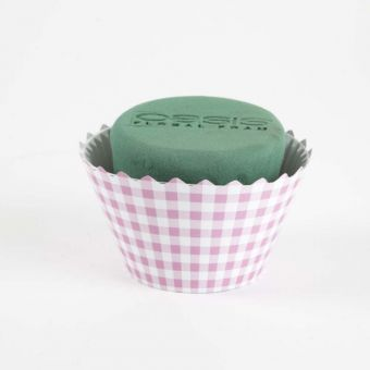 OASIS® Ideal Floral Foam Maxlife Cupcakes - Pink Gingham - 12cm (Pack of 6)