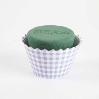 OASIS® Ideal Floral Foam Maxlife Cupcakes - Lilac Gingham - 12cm (Pack of 6)
