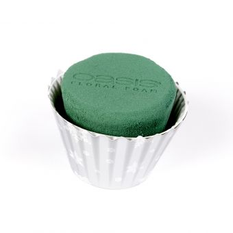OASIS® Ideal Floral Foam Maxlife Cupcake - Silver Snowflake - 8cm (Pack of 6)