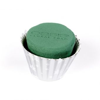 OASIS® Ideal Floral Foam Maxlife Cupcakes - Silver with White Snowflakes - 12cm (Pack of 6)