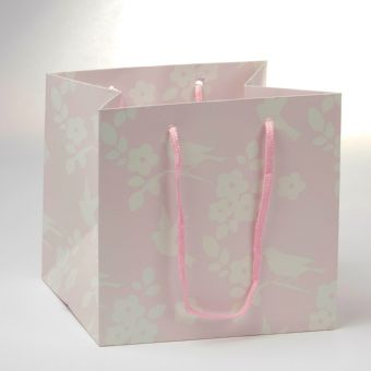 Porto Bag - Bird Pattern Pink - 18x20cm (Pack of 10)