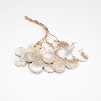 Wooden Flower Hanger - White Frost (Pack of 4)