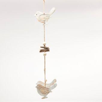 Wooden Bird Garland - White Frost