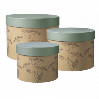 Round Cow Parsley Lined Hat Box (Set of 3)