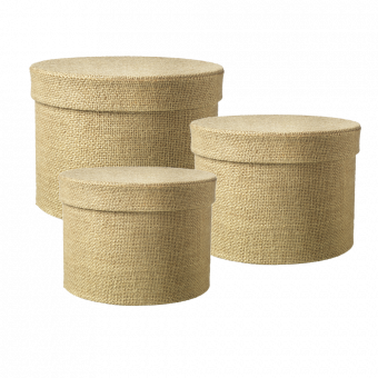 Round Hessian Lined Hat Box (Set of 3)