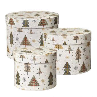 Snow Valley Lined Hat Box (Set of 3)