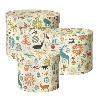 Arctic Deer Lined Hat Box (Set of 3)