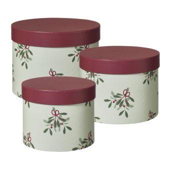 Oh Mistletoe Lined Hat Box (Set of 3)