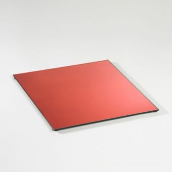 Square Mirrored Plate - Red - 35cm