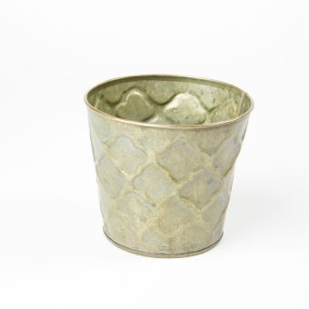 Round Seine Tin Pot - Green/Gold - 13cm x 11.5cm