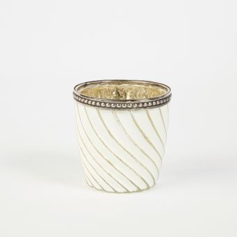 Odda Tealight Holder Ivory Gold 7.5cm