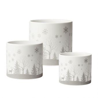 Snowy Night Cylinder Pot