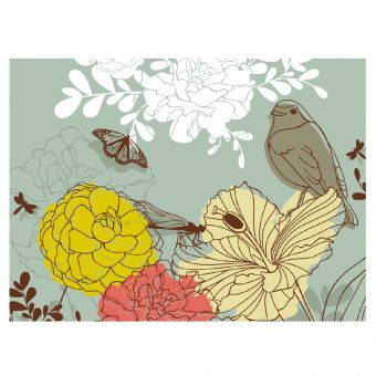 Peony's Butterfly's & Bird