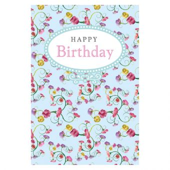 Happy Birthday - Blue Floral Print