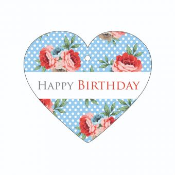 Happy Birthday - Red Roses and Polka Dots - Heart