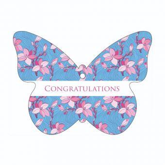 Congratulations - Pink Calla Lilies - Butterfly
