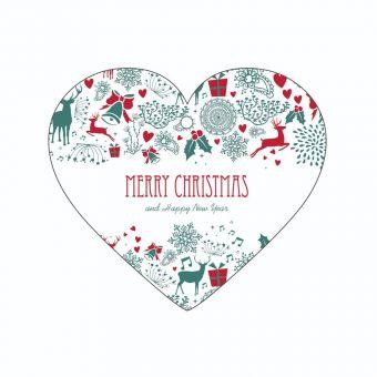 Merry Christmas - Christmas Pattern - Heart