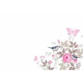 Vintage Rose, Butterflies, Birds