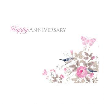 Happy Anniversary Vintage Rose, Butterflies & Birds