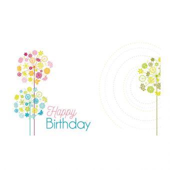 Happy Birthday, Retro Flowers with Swirl