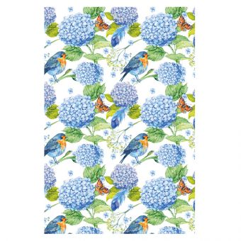 Vintage Robins, Blue Hydrangeas