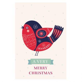 Merry Christmas Card - Bird (Pack of 25)