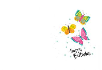 Happy Birthday - Butterflies Classic Worded Card