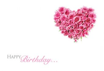 Happy Birthday - Rose Heart Classic Worded Card