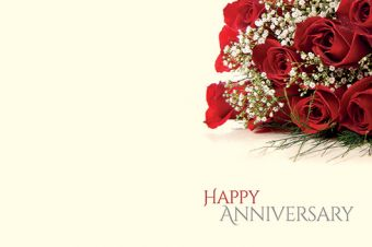 Happy Anniversary - Roses & Gypsophila Classic Worded Card