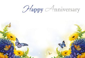 Happy Anniversary - Blue & Yellow Flowers Classic Worded Card