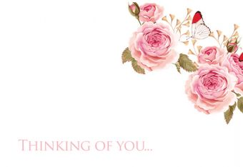 Thinking of You - Vintage Roses Classic Worded Card