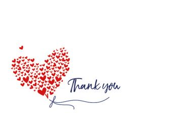 Thank You - Hearts Classic Worded Card