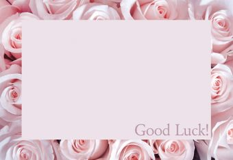 Good Luck - Pink Rose Border Classic Worded Card