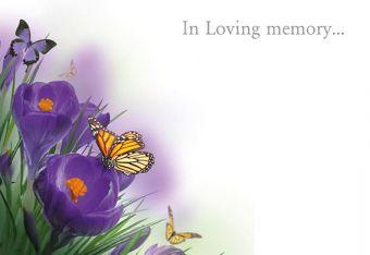 In Loving Memory - Purple Crocus & Butterflies Remembrance Card
