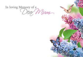 In Loving Memory of a Mum - Flowers & Butterflies Remembrance Card