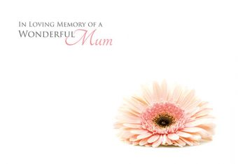 In Loving Memory of a Wonderful Mum - Soft Pink Gerbera Remembrance Card