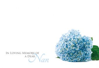 In Loving Memory of a Dear Nan - Hydrangea Remembrance Card