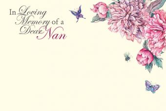 In Loving Memory of a Dear Nan - Vintage Flowers Remembrance Card