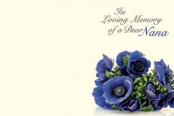 In Loving Memory of a Dear Nana - Anemone Posy Remembrance Card