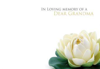 In Loving Memory of a Dear Grandma - Lotus Remembrance Card