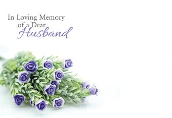 In Loving Memory of a Dear Husband - Wild Flowers Remembrance Card