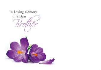 In Loving Memory of a Dear Brother - Purple Crocus Remembrance Card