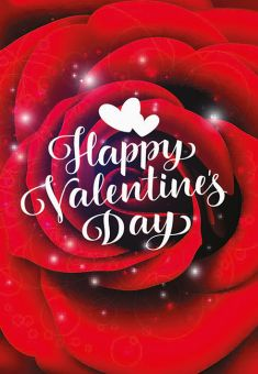 Happy Valentines Day, Rose Folded Worded Card